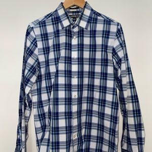 Blue and Turquoise Striped Modern Fit Dress Shirt